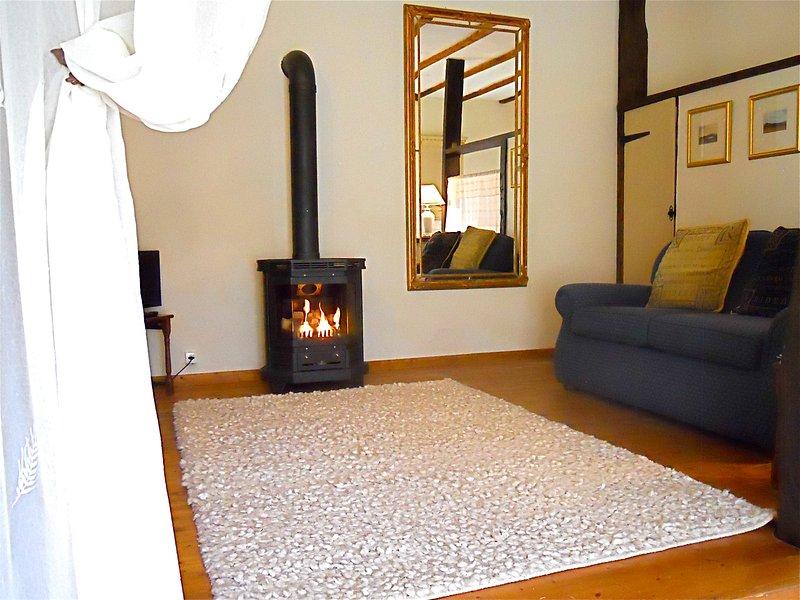 sala de estar com lareira a gás