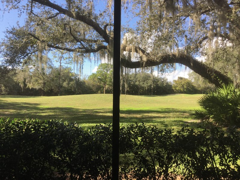 Looking out on the golf course from the screened in porch