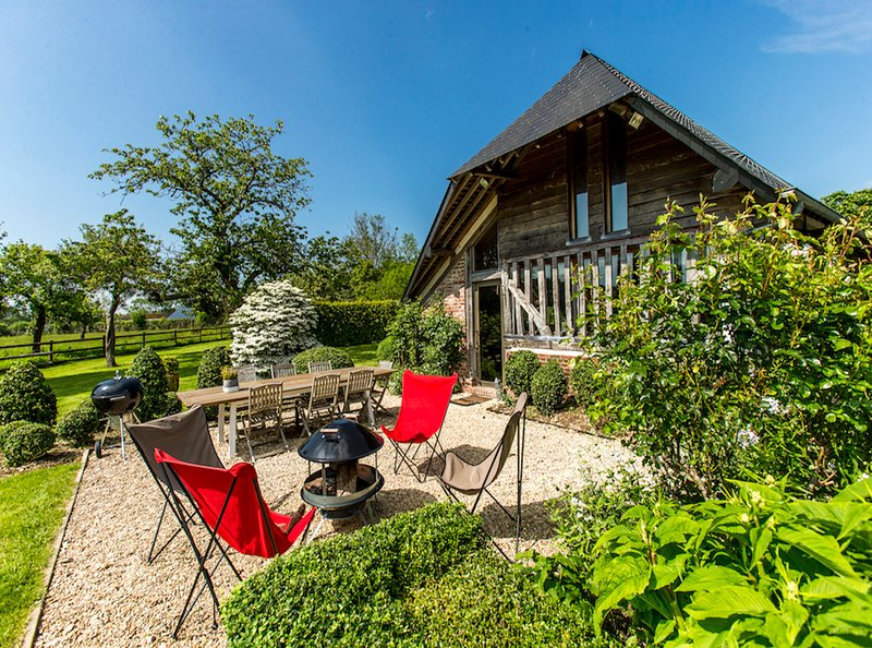 La Vie de Cocagne Normandy self catering summer view terrace garden