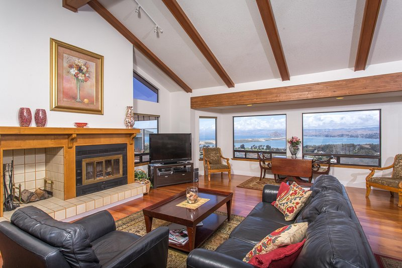 Great room with inspiring views & wood burning fireplace
