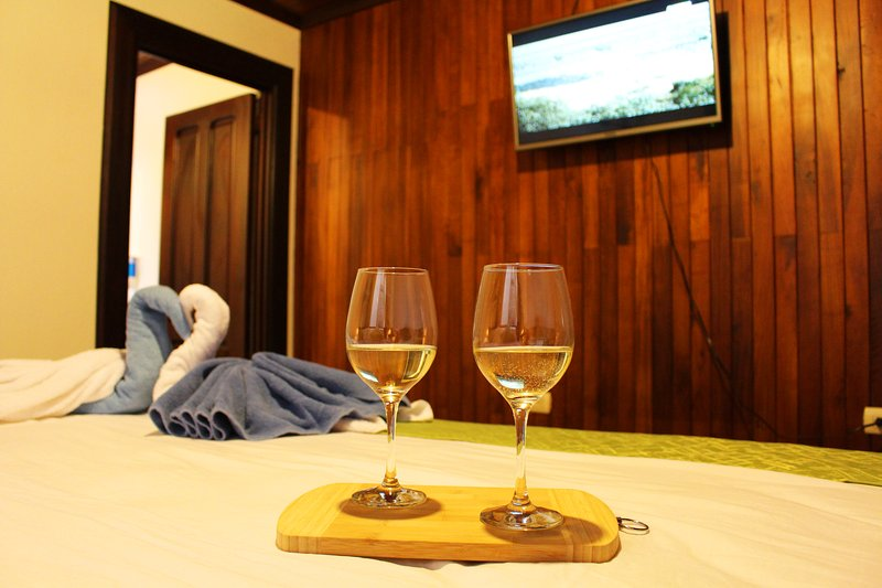 Enjoy a nice glass of wine and flat screen tv from the comfort of your king bed.