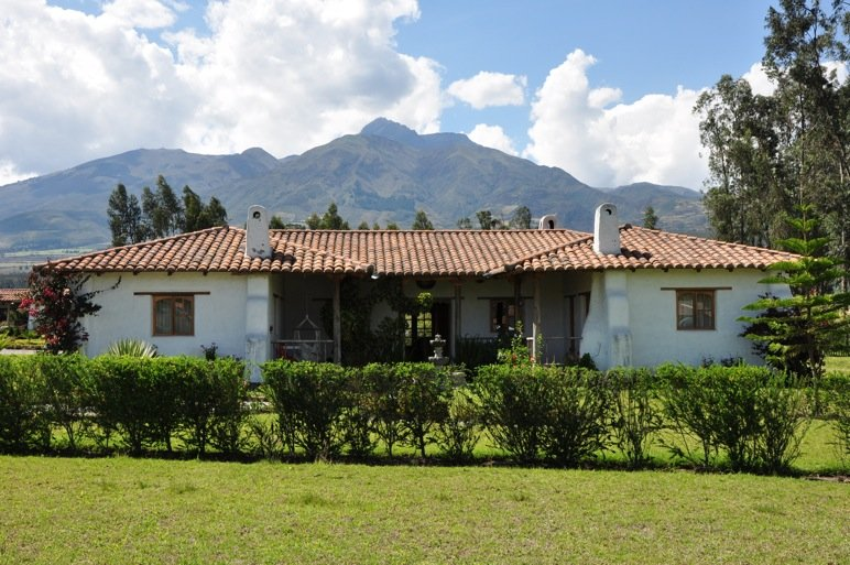 House with 18,000' Mt Cotacachi in background