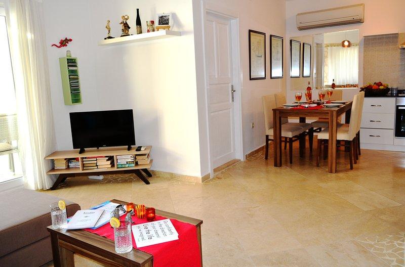 Open space soggiorno, bel divano di grandi dimensioni, grande TV, ampio balcone