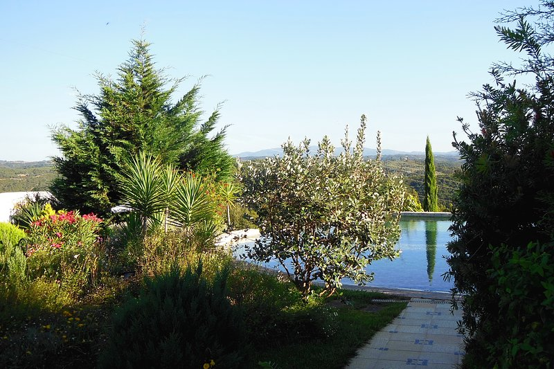 Access to the swimming pool with panorama view