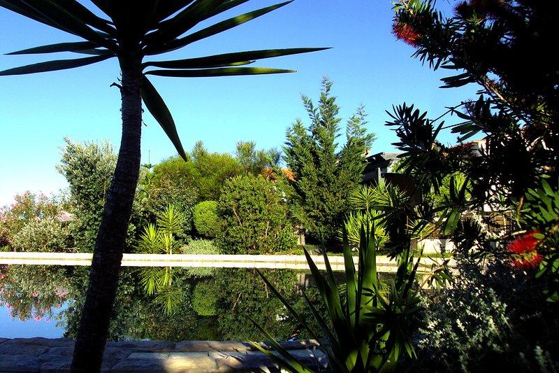 Uitzicht vanaf het terras aan het zwembad in de richting van de accommodaties