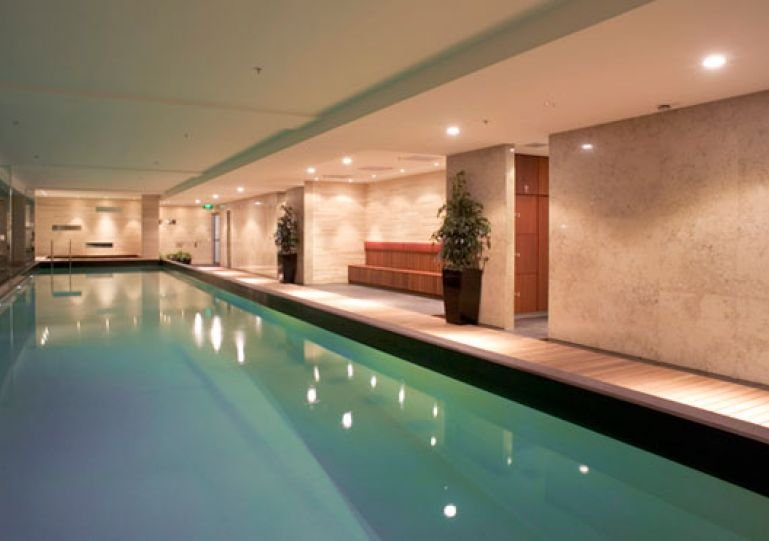 Complex has a heated pool, sauna, spa and gym available to all residents