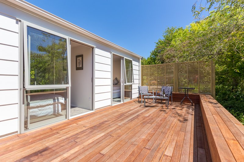 Sunny deck with outdoor seating