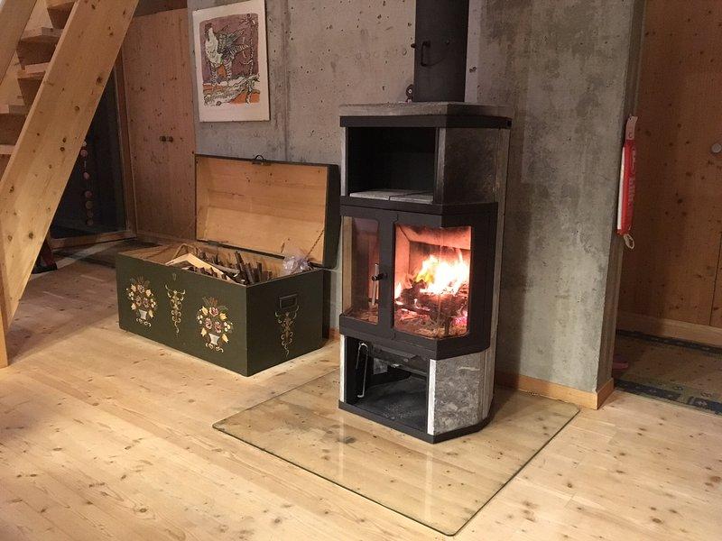 La casa è riscaldata esclusivamente con questa stufa a legna.