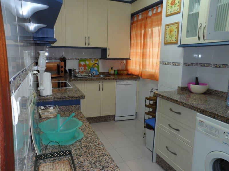 Cuisine avec réfrigérateur-congélateur, lave-vaisselle, four, micro-ondes, plaque de cuisson ...