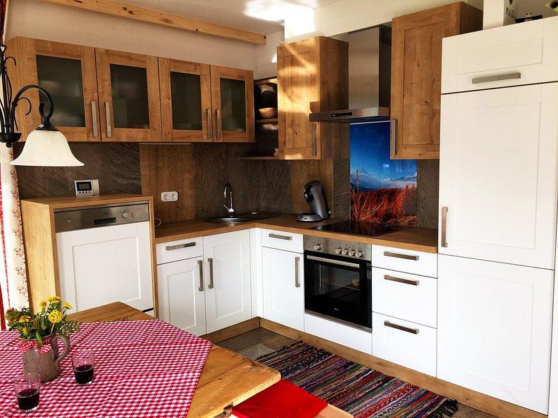 die komplett eingerichtete Küche