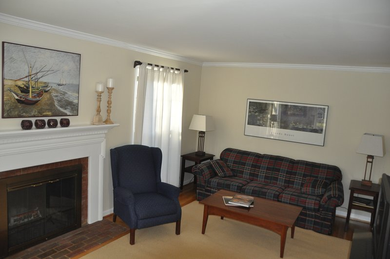 Comfortable and spacious living room on the main floor, with lots of light!