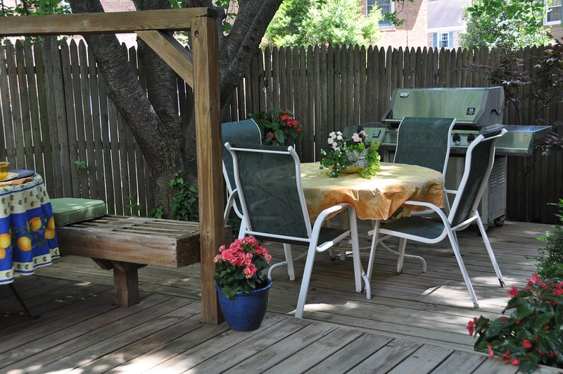 Beautiful, fenced in back deck perfect for an outdoor BBQ after a day of sightseeing.