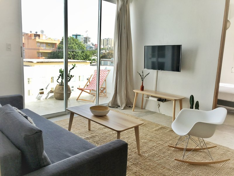seating/lounge area with balcony and roku tv.