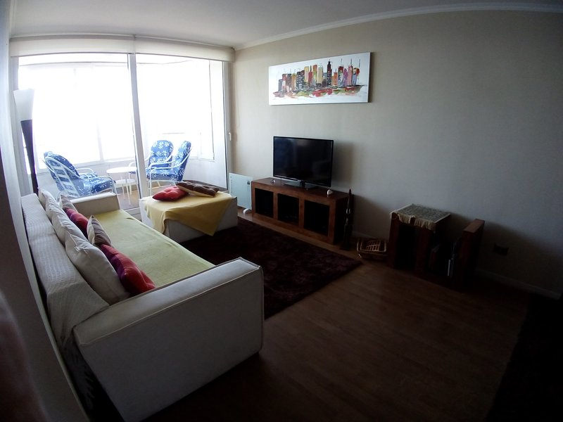 Living equipped with flat TV with cable, stereo with USB port. Sofa 3 bodies, 1 pouf