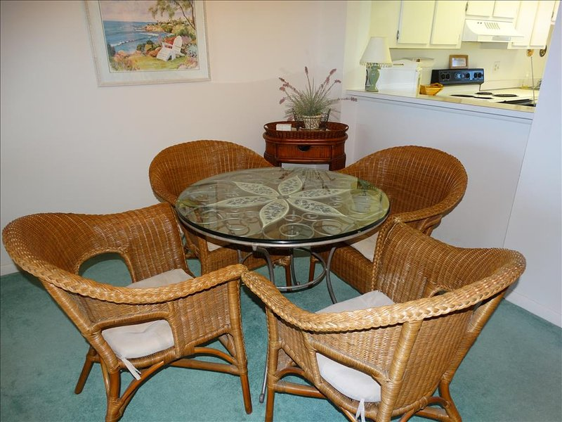 Dining Room table seats 4 and is close to the kitchen!