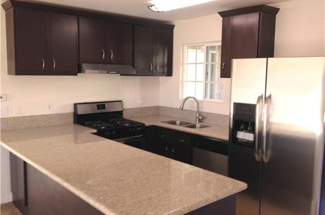 Full equipped kitchen with stove, refrigerator and dishwasher