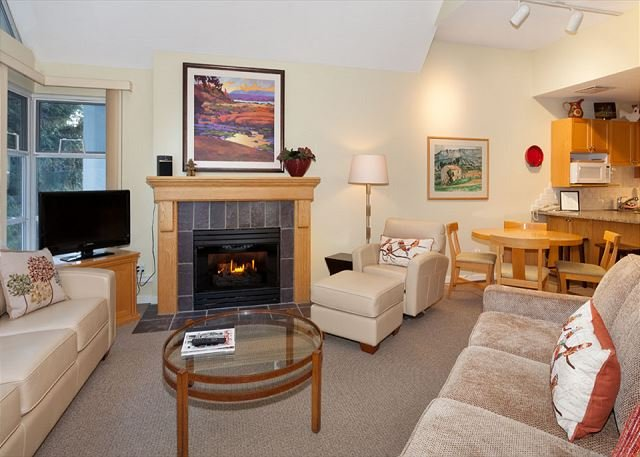 Living area with gas fireplace and flat screen TV.