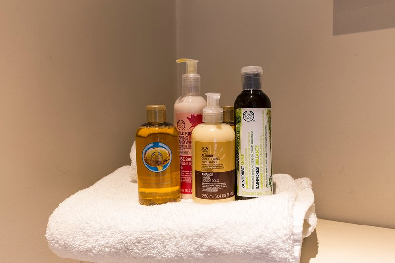Body Shop fine shower gel and shampoo provided as well as towels