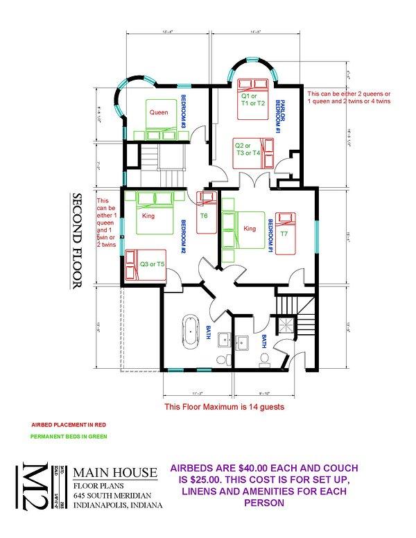 Main House Second Floor  Extra Bed Setup Floor Plan