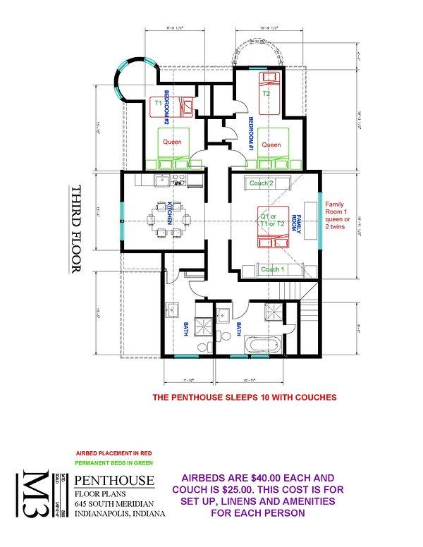 Penthouse Floor Plan d'installation de lit supplémentaire