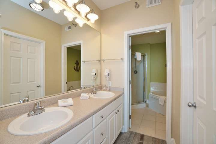 Master bath with dual vanity and blow-dryer