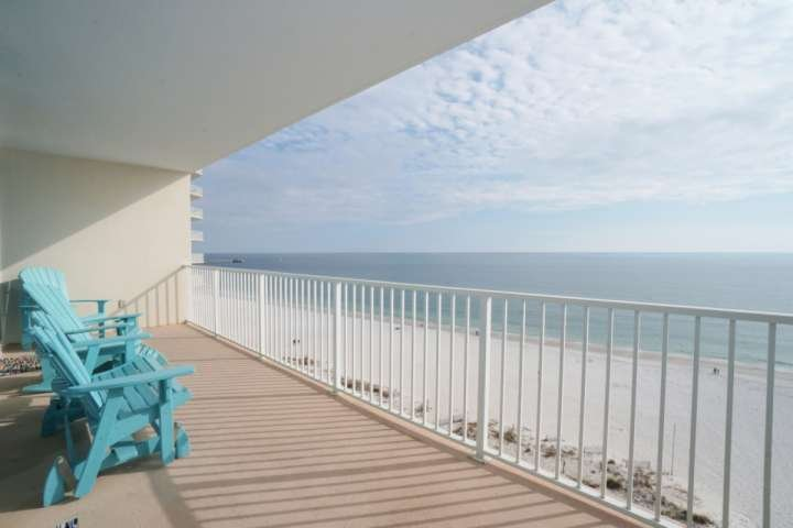 Private balcony with Adirondack chairs