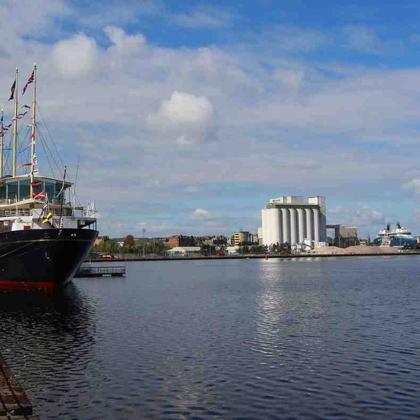 Royal Yacht Britannia is moored at nearby Leith