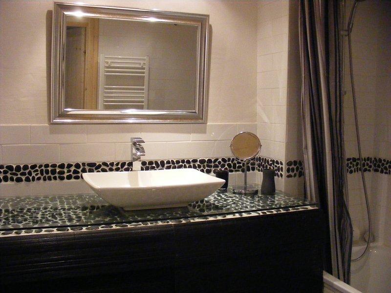 salle de bain spacieuse avec douche, machine à laver et sèche-linge