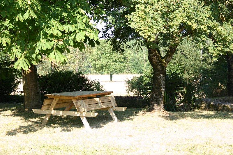 pequeña área de picnic bajo la vieja historia