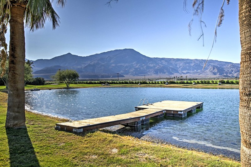 Enjoy spectacular mountain views and the private lake, fully stocked with fish!