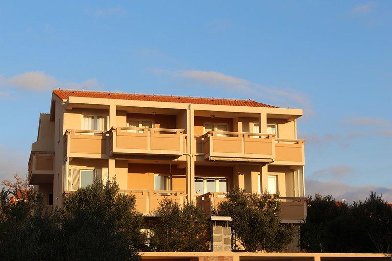 L'esterno del palazzo, circondato da bellissimi alberi di ulivo.