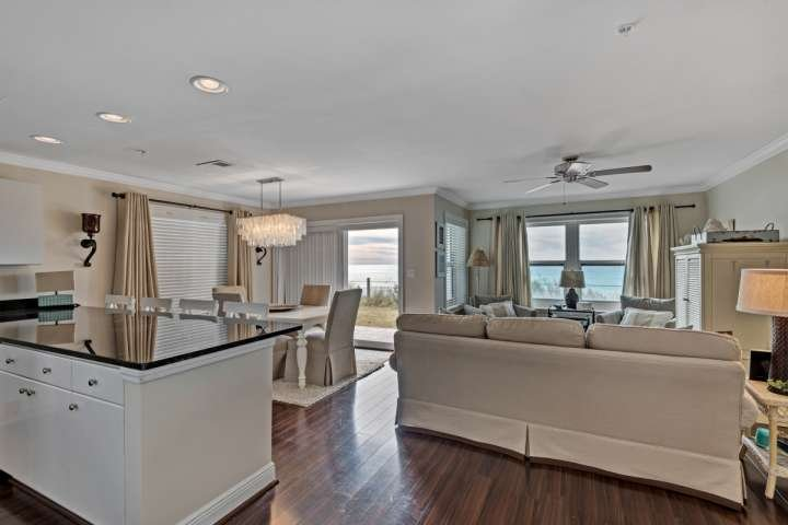 Open concept living and dining with fabulous Emerald Coast views