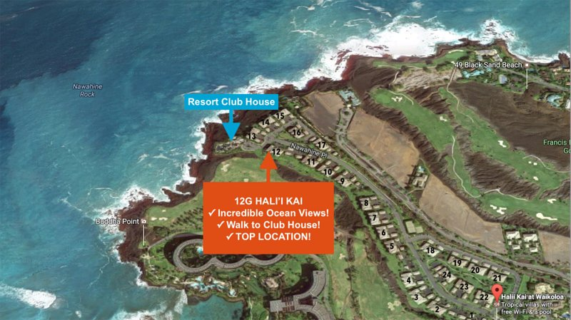 Hali'i Kai 12G is located in Building 12. Other buildings don't compare to our location and views!