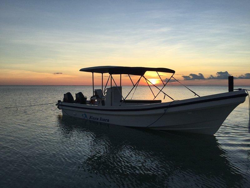 The 7.6m Kura Kura, ready to take you to the best reef breaks.