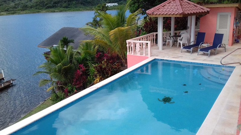 WATERFRONT WITH POOL,  KAYAK, SNORKEL, DIVE. 2 BEDROOM, 2 BATH WITH AC, vacation rental in Politilly Bight