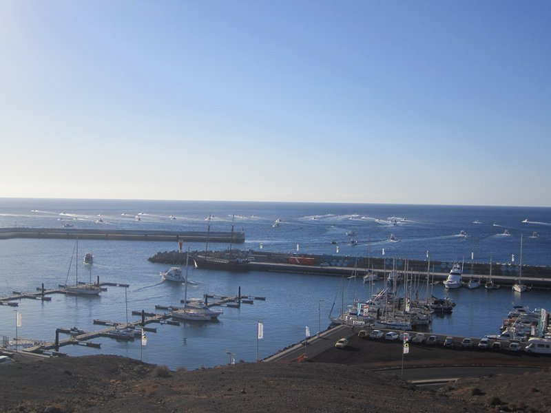 The boats at the start of the annual local deep sea fishing festival