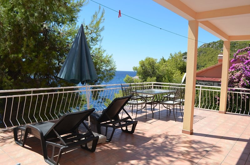 Apartment Marta is located in Prizba.Beach is just under the house.Suitable for 6 persons.
