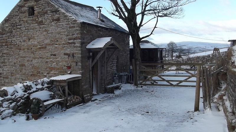 Crofters Hütte im Winter ... gemütlich und nett!