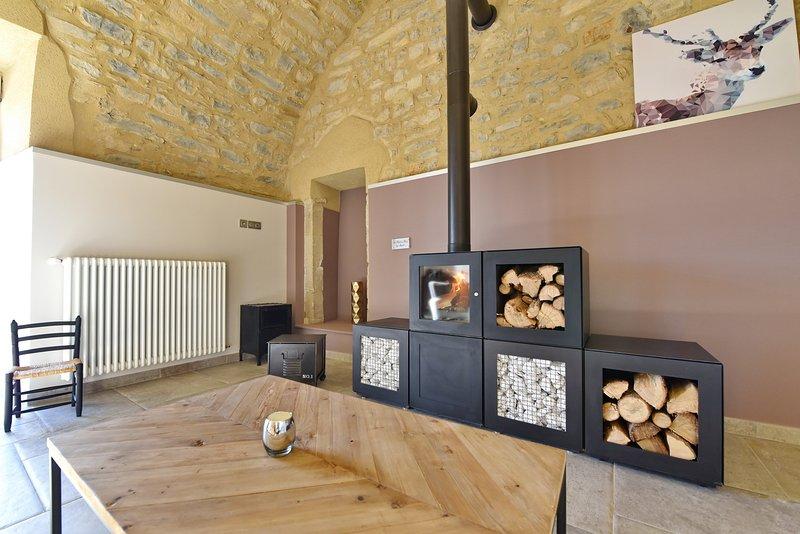 Le jardin, cheminée Philippe Starck