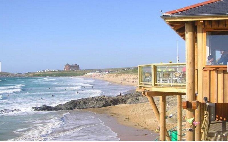 Fistral Beach and windswept cafe only 500 metres away Newquay