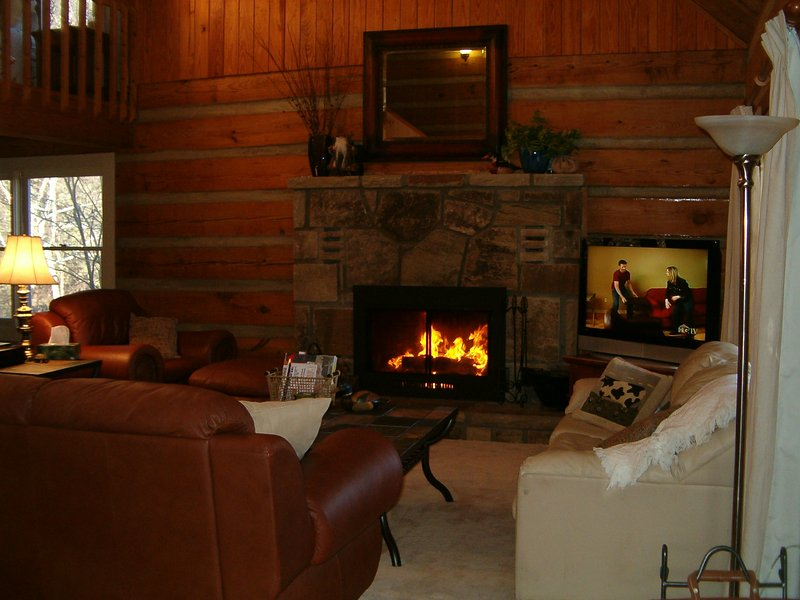Great room with sleeper sofa, wood burning fireplace and 42' flat screen TV with DISH