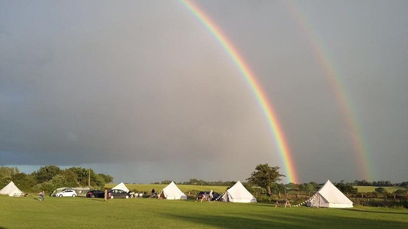 View of Bell Tents from the campsite