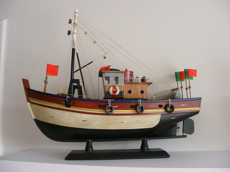 Decoration - scale fishing boat, typical of Valparaiso