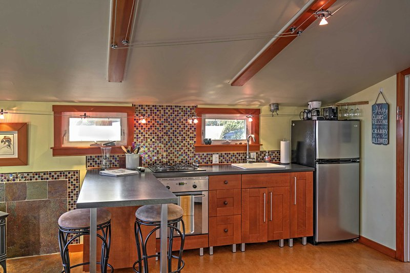 Prepare at-home meals in the fully equipped kitchen.