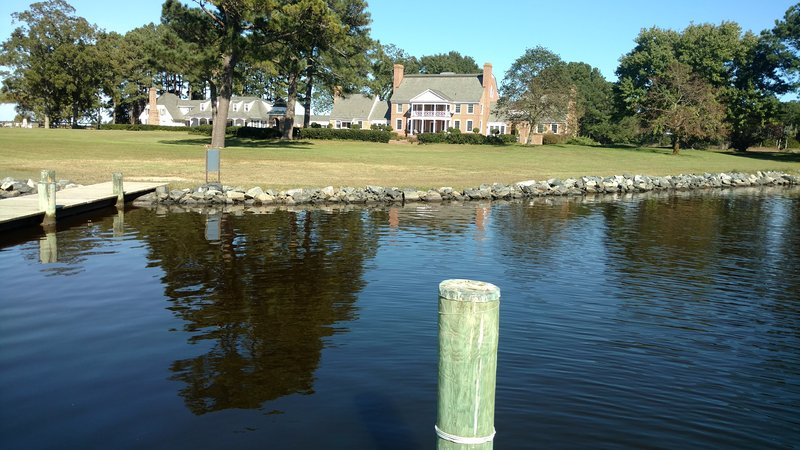 View of the Back yard of Kingsbay Mansion from the boat dock.