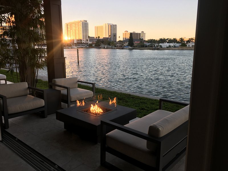 Enjoy the breeze and sunset nestled against the water