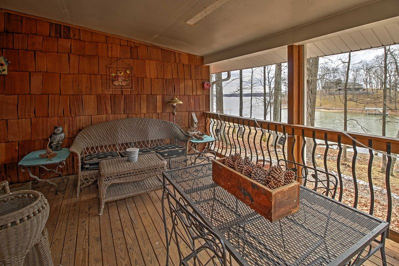 Enjoy the view of the lake from the covered deck.