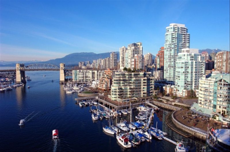 View from Granville bridge building with marina and seawall in front