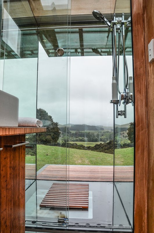All glass shower, provides stunning views