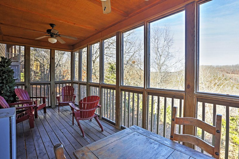 It features a large screened porch and a lower spacious porch!
